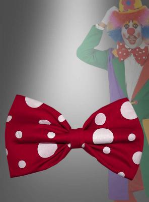 Große Fliege für Clowns rot mit Punkten