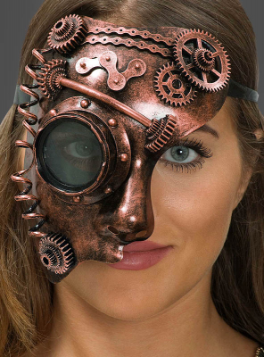 Steampunk Mask with Gears Copper