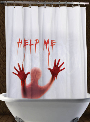 Shower Curtain Help Me Halloween