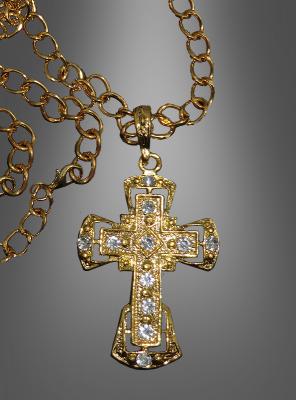 Deluxe Kreuz Medaillon mit Kette