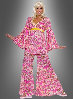 Flowerpower Hippiekostüm pink