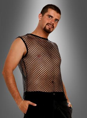 Netzhemd schwarz ärmellos für Rocker