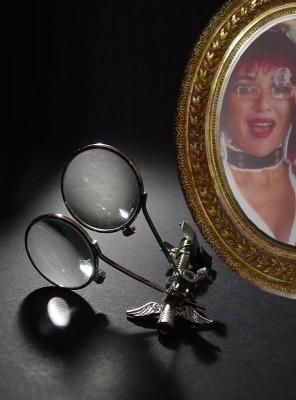 Monokel Steampunk Brillenlupe silber