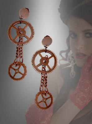 Long Steampunk Gear Earrings