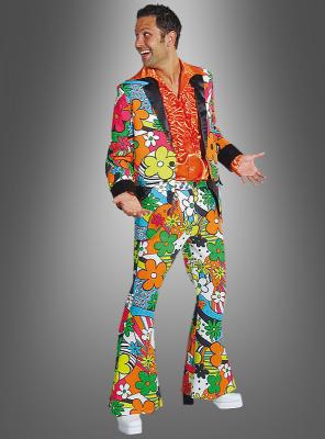 70er Herren Anzug Neon Flowers