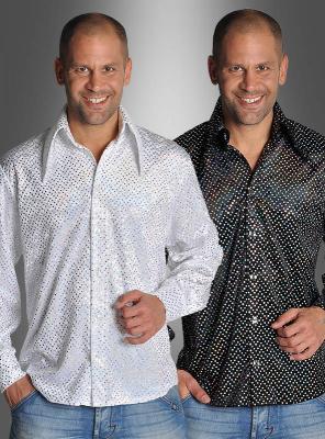 Pailletten Hemd schwarz oder weiß