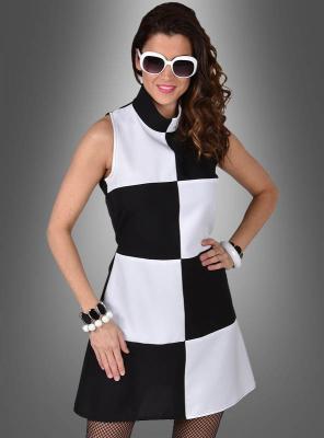 60er Jahre Mod Kleid schwarz-weiß