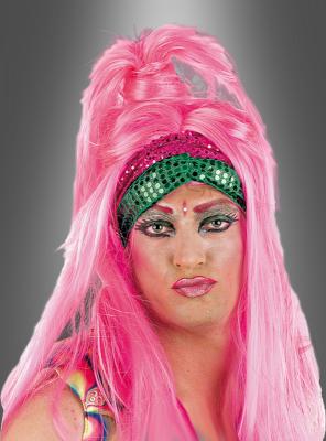 Drag Queen Perücke Pink mit Zopf
