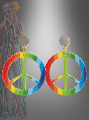 Ohrringe 70er Jahre Peace Zeichen