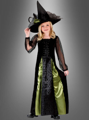 Gothic Hexenkleid mit Hut Kinderkostüm