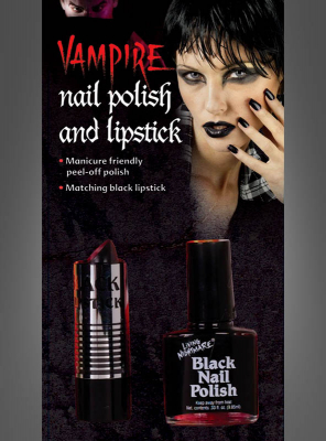 Gothc black Nail Polish and Lipstick