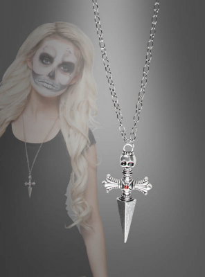 Cross Necklace with Skull