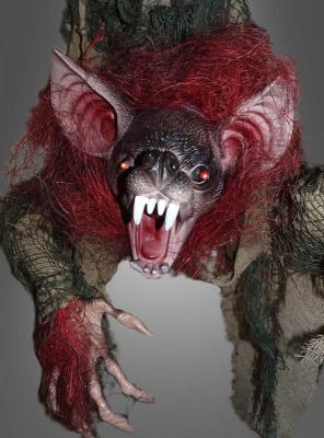 Vampir Fledermaus Dekoration mit LED, Sound & Bewegung