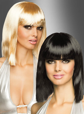 Shoulder-Length Wig with Bangs