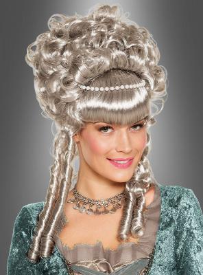Grey Baroque Wig with Pearls