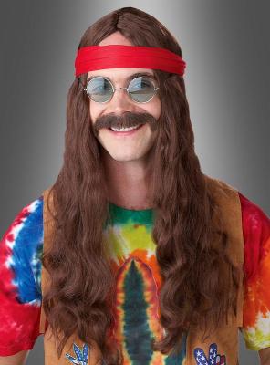 Hippie Langhaarperücke und Bart