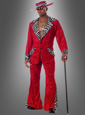 Adult velvet 70s Pimp costume red