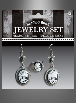 Cameo Earrings and Ring Skeleton Lady