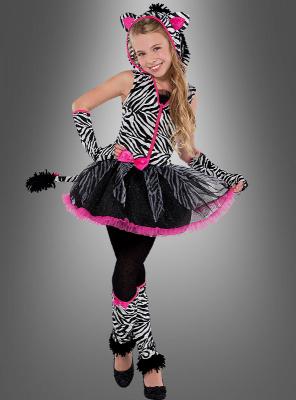 Zebra Mädchenkostüm mit Zubehör