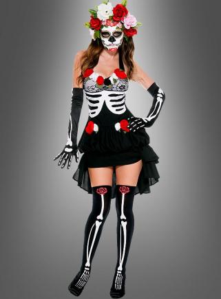Totenwächterin Kostüm mit Zubehör Tag der Toten