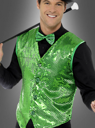 Green Sequin Vest for Men