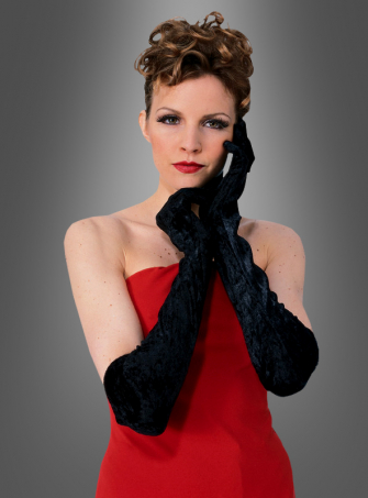 Long Black Velvet Gloves