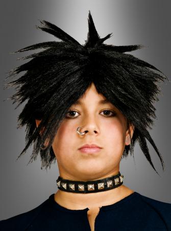 Punk Perücke mit Stacheln für Kinder