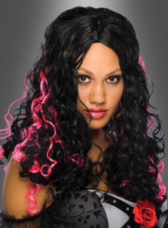 Schwarzhaar Perücke Pink gesträhnt