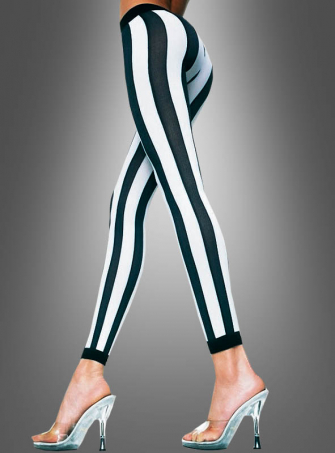 Vertikal gestreifte Leggings schwarz-weiß