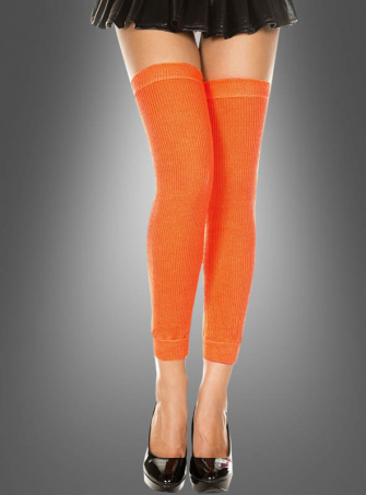 Gestrickte Overknees orange