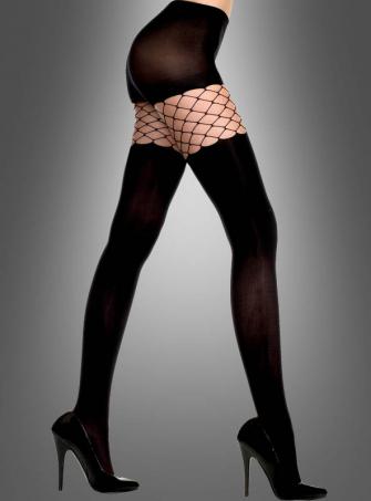 Sexy schwarze Strumpfhose mit Netzeinsatz