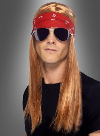90er Jahre Rockstar Set Perücke mit Brille
