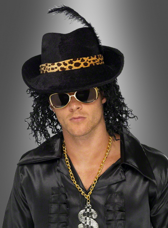 Pimp Hut schwarz mit Feder