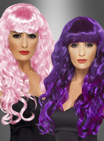 Locken Perücke rosa oder lila