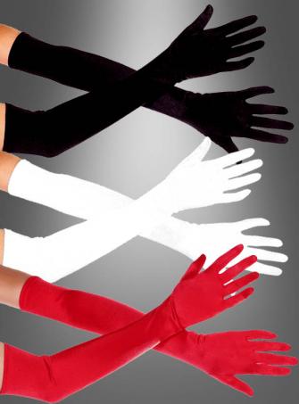 Lange Handschuhe schwarz, weiß oder rot