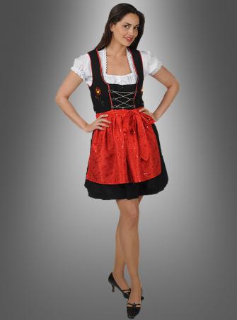 Dirndl Dress black red