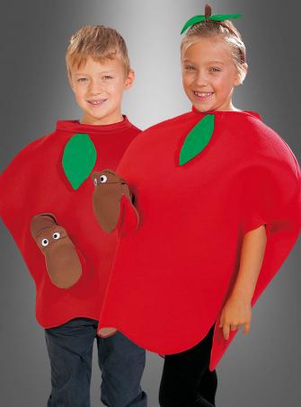 Apfel Kostüm mit Wurm für Kinder