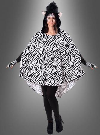 Plüsch Zebra Poncho XS-XXXL