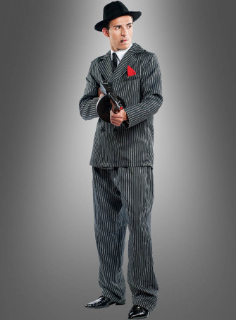 Pinstripe Suit Mafia Don Deluxe with Hat