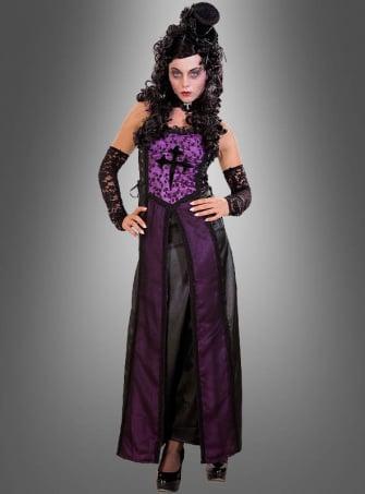 Lila-Schwarzes Gothic Kleid für Vampire