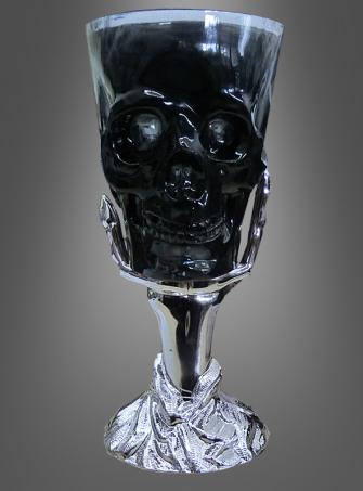 Totenkopf Kelch silberne Skeletthand