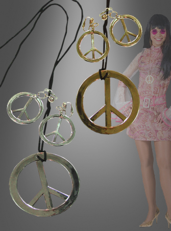 Hippie necklace and earrings peace sign
