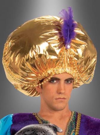 Großer goldener Turban für Fasching