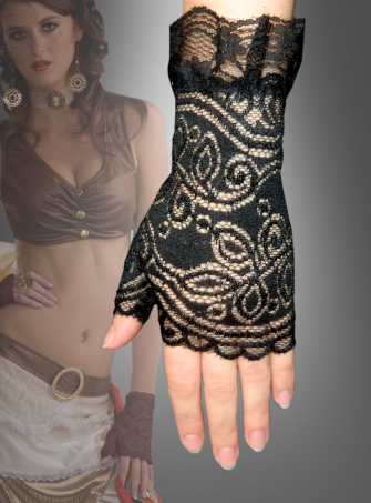 Ruffled fingerless gloves Steampunk