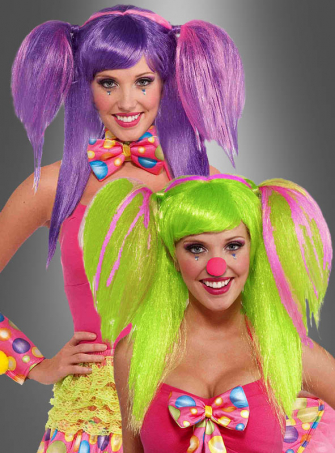 Clown Zopfperücke in zwei Farben