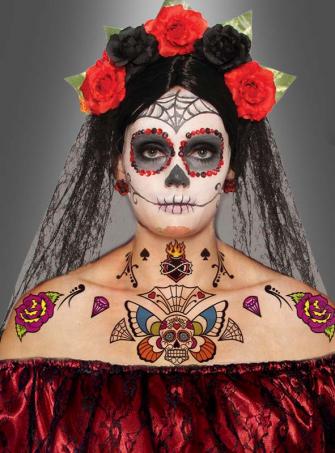 Sugar Skull Körper Tattoo Set