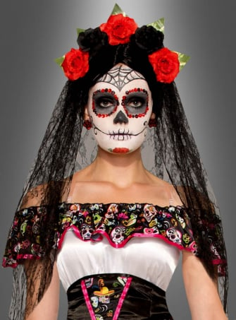 Day of the Dead Veil with Flowers