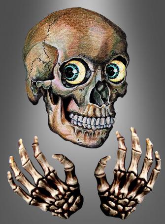 3-D Window Sticker Skull and Hands
