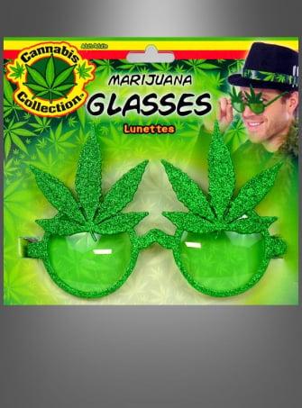 Cannabis Brille Hanfblätter mit Glitter