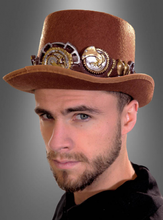 Deluxe Steampunk Top Hat brown